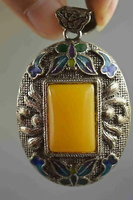 Collection Handwork Old Miao Silver Carve Flower Inlay Agate Noble Lucky Pendant