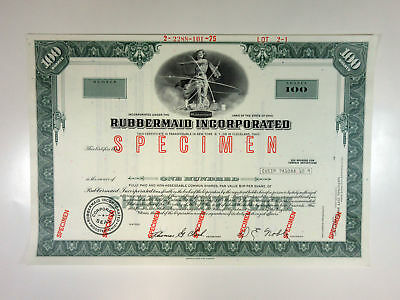 OH. Rubbermaid Inc. 1960-70s Specimen Stock Certificate 100 Shares XF ABN Blue
