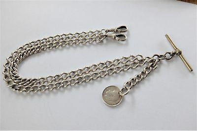 1900 Solid Silver Double Albert Pocket Watch Chain With Dog Clips T-Bar & Coin