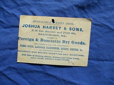 1800's Baltimore,Md. Quilt Dealer,Joshua Harvey & Sons COLORFUL PIC Trade Card!!