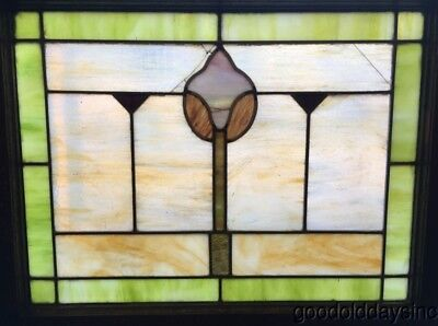 "Antique 1920's Chicago Stained Leaded Glass Window 28"" by 23"""