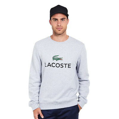 Lacoste - Classic Brushed Fleece Sweatshirt Silver Chine Pullover Rundhals