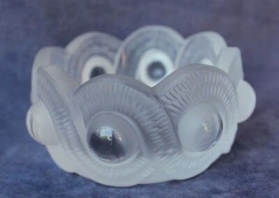 """Signed Lalique France Crystal 4"""" GAO Frosted Bowl - Serpentine Cendrier"""