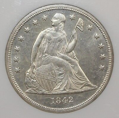1842 Seated Liberty Silver Dollar Ms 64 Ngc - Top Pop None Finer!!  Nice!!