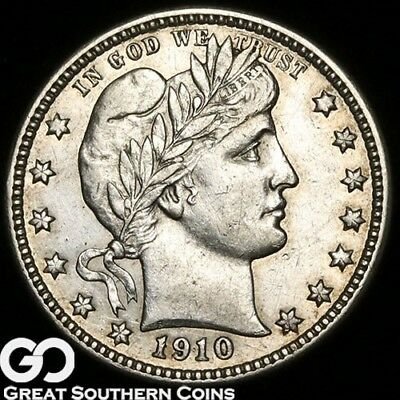 1910-D Barber Quarter, Choice AU++ Tougher Date