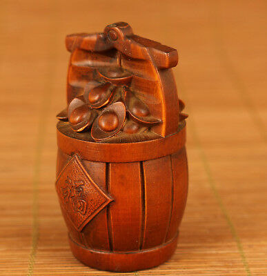 Chinese Old Boxwood Hand Carving Shoe Shaped Gold Ingot Bring Money Statue