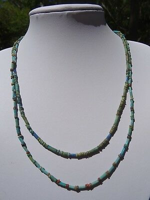 2 Original Ancient Egyptian Faience Mummy Bead Sterling Silver Necklaces