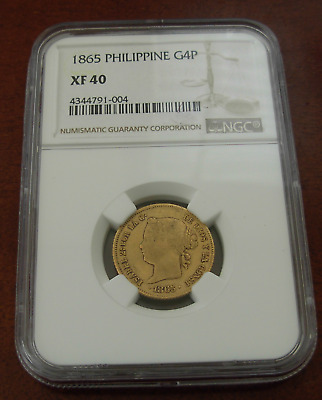 Philippines 1865 Gold 4 Pesos NGC XF-40
