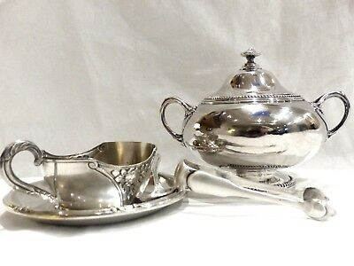 BIG SUGAR BOWL § Sugar Tong in French STERLING SILVER + cup § saucer NO DEFAULT