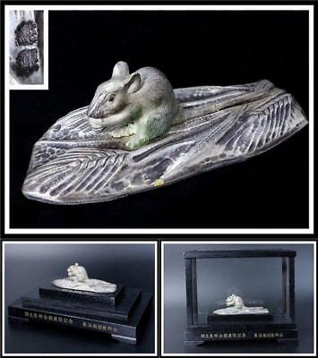 SBCO12  Japanese old Sterling silver & nickel mouse ornamnt w/ Glass case