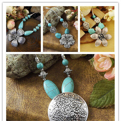 NEW Vintage Women's Tibetan Silver Turquoise Beads String Pendant Necklace