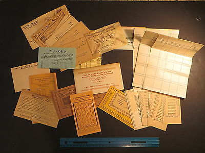 1930s Stamp Dealer incl H E Harris approval insert cards, paper perf guages, etc