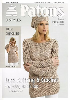 29914969a73c6 VAT Free Knitting   Crochet PATTERN ONLY Patons Ladies Top Sweater Hat 3897  New