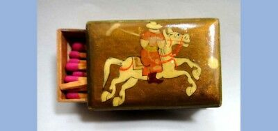 antique BRASS ASIAN POLO MATCH BOX HOLDER w/MATCHES game
