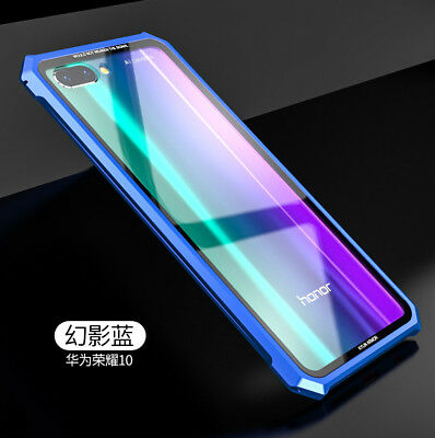 For Huawei Honor 10 Aluminum Metal Frame Bumper&Tempered glass Back Case Cover