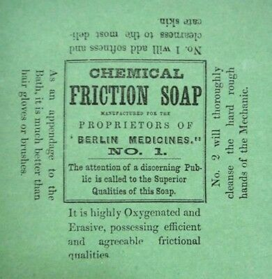 1890s antique BERLIN NH UNUSED SOAP LABEL~CHEMICAL FRICTION BERLIN MEDICINE no.1