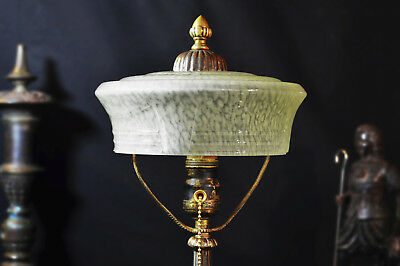 Rare Are & Crafts / Victorian mid-19th Century Bronze desk lamp blue glass shade
