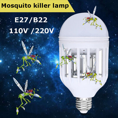 15W E27/B22 LED Light Mosquito Killer Bulb Lamp Insect Fly Lure Trap Catcher