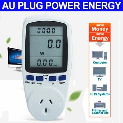 240V Power Meter Monitor Energy Consumption Watt Electricity Usage Tester + H2