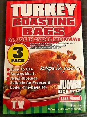 3 PACK JUMBO SIZE TURKEY ROASTING BAGS OVEN MICROWAVE COOKING CHICKEN 56 x 60cm