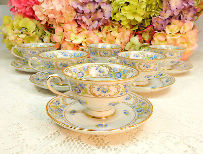 6 Gorgeous Schumann Bavaria Porcelain Footed Cups & Saucers Forget Me Not ~ Gold