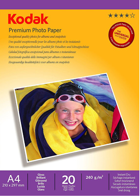 2 Packs of Kodak Glossy Photo Paper A4 (210 x 297 mm) 240gsm - 20 Sheets A Pack