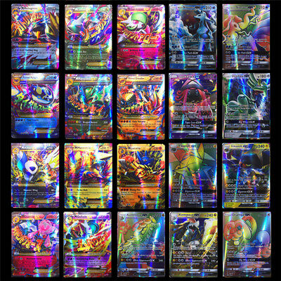 100 PCS Pokemon Card 20 GX + 80 EX Flash Trading Cards Kids Table Game Play Toy