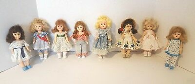 Lot Of Vintage Ginny, Ginger Type Hard Plastic Dolls With Outfits