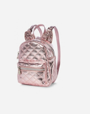 Justice Rose Gold Quilted Mini Mini Backpack  NWT
