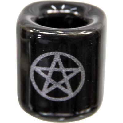 Black Chime Candle Holder with Silver Pentacle!