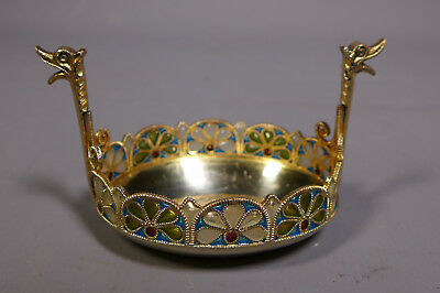 Norwegian 830 Silver Gilt & Plique A Jour Enamel Viking Ship Salt C.1910 Gh & Co