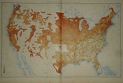 Vintage 1890 UNITED STATES MAP Proportions of Foreign Parentage to Whites