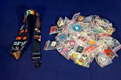 Disney World Pin Trading Lot Lanyard Starter Star Wars Darth Maul Yoda & 25 Pins