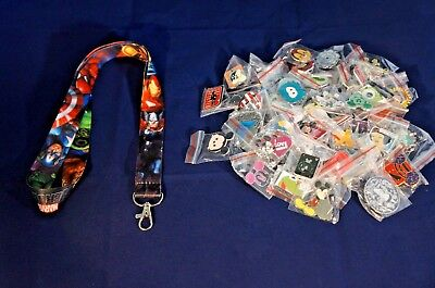 Disney World Pin Trading Lot Lanyard Starter Marvel Heroes Avengers & 25 Pins