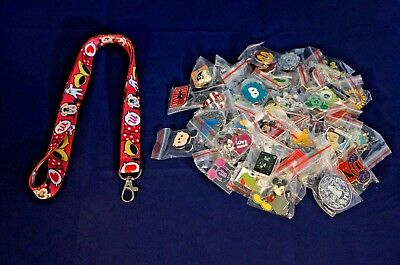 Disney World Pin Trading Lot Lanyard Starter Set Pink Minnie Mouse Dot & 25 Pins