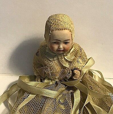 Antique Dressed Miniature Bisque Head Dol lBust only