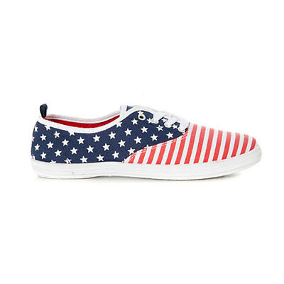 Patriotic USA Flag Lace Up Sport Casuals Canvas Tennis Sneaker Walking Shoe  Flat 4669ef15dc2