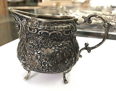 125.1g ANTIQUE EARLY 1800s .800 SILVER BEAUTIFUL DARK PATINA CREAMER