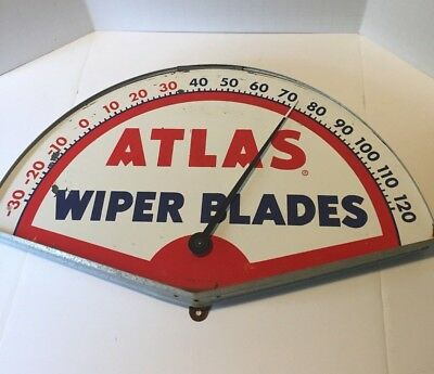 Vintage 1950's  Atlas Wiper Blade Metal Sign Thermometer WORKING