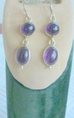 Nice Pair Of Silver Drop/dangle Earrings Set With Purple Stones