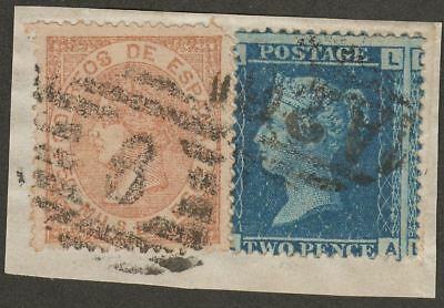 Gibraltar c1867 GB 2d Plate, Spain 50m Combination Piece A26 + Barred 6 Postmark