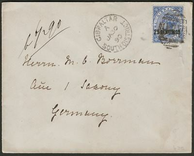 Gibraltar 1890 QV 25c Surch Variety Used on Cover with SOUTH DISTRICT Postmark
