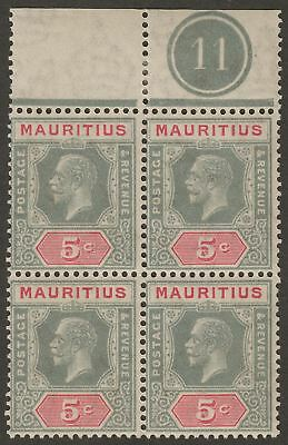 Mauritius 1922 KGV 5c Pale Grey and Pale Carmine Plate 11 Block of 4 Mint SG227