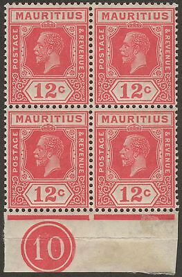 Mauritius 1922 KGV 12c Carmine-Red Type A Plate 10 Block of 4 Mint SG232
