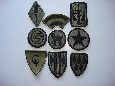 Group Of 9 US Military Subdued Patches From Various Branches And Units