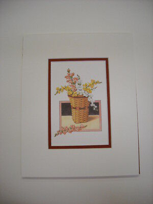 Longaberger May Series Snapdragon Flowers in Basket Matted Art Print