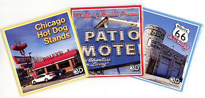 CHICAGO - Stereoscopic- 3 ViewMaster Reels - Hot Dogs, Lincoln Motel, Route 66