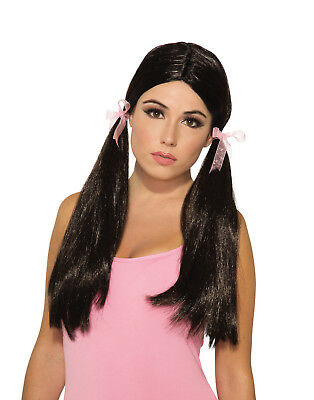 Long Straight Pigtail Womens Adult School Girl Costume Wig