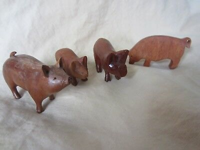 Vintage Wooden Hand Carved Folk Art Pig Lot Primitive Country Farm Animals Minis