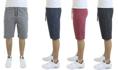 NEW Men's French Terry Jogger Shorts With Zipper Pockets L Heather Grey
